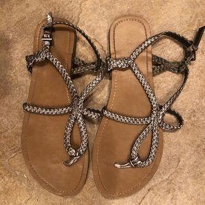 Metallic silver braided strappy sandals